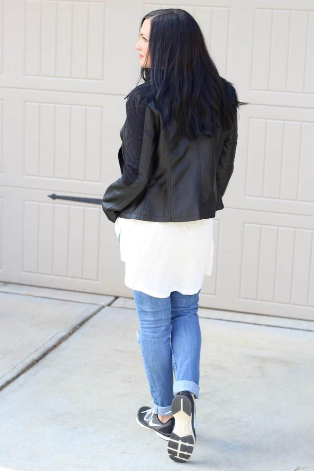 leather jacket with high low tee