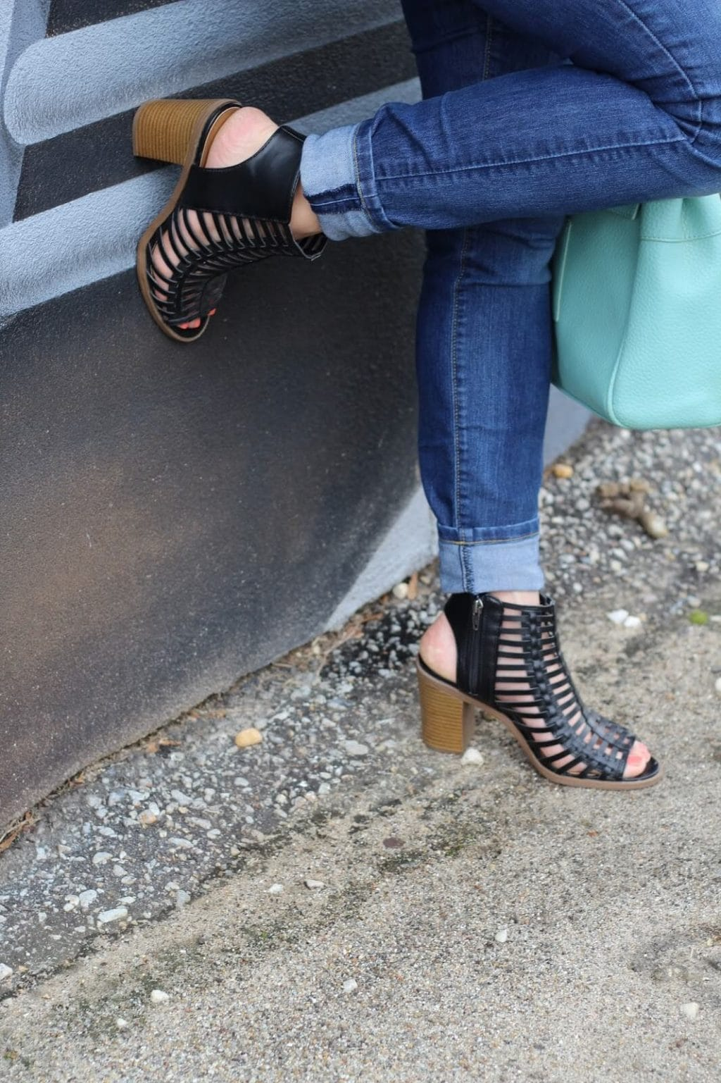 Caged black sandals