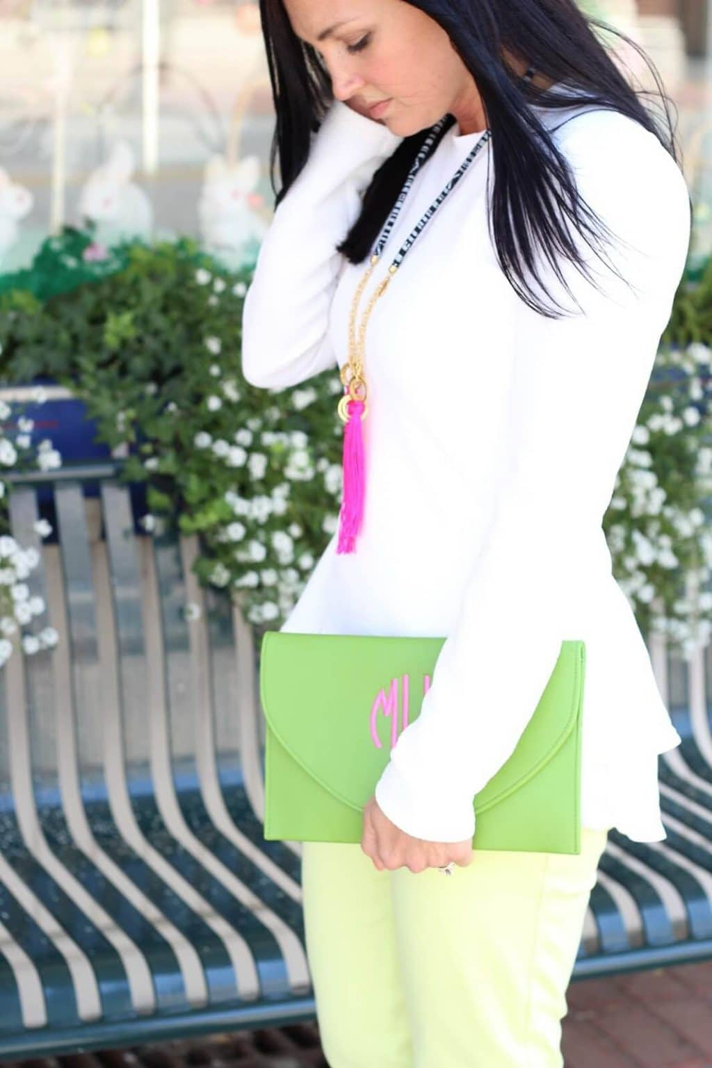 White peplum shirt, neon pants