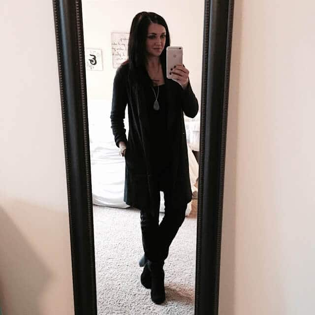 Long drape cardigan via J. Jill, All black outfit