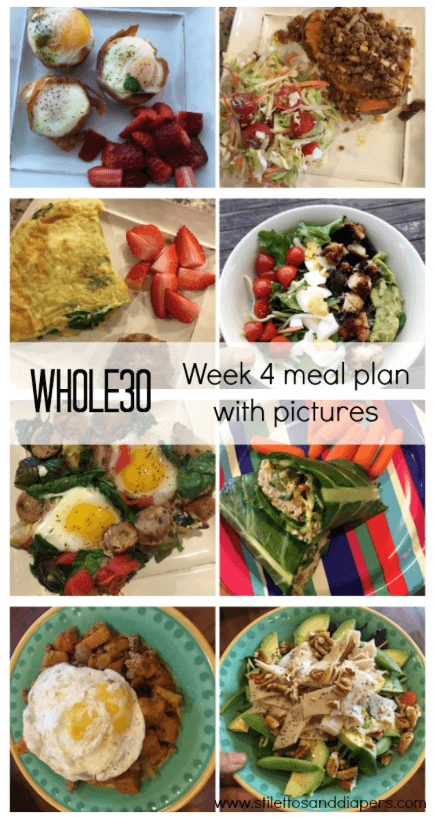 Whole30 menu, week4 meal plan with pictures