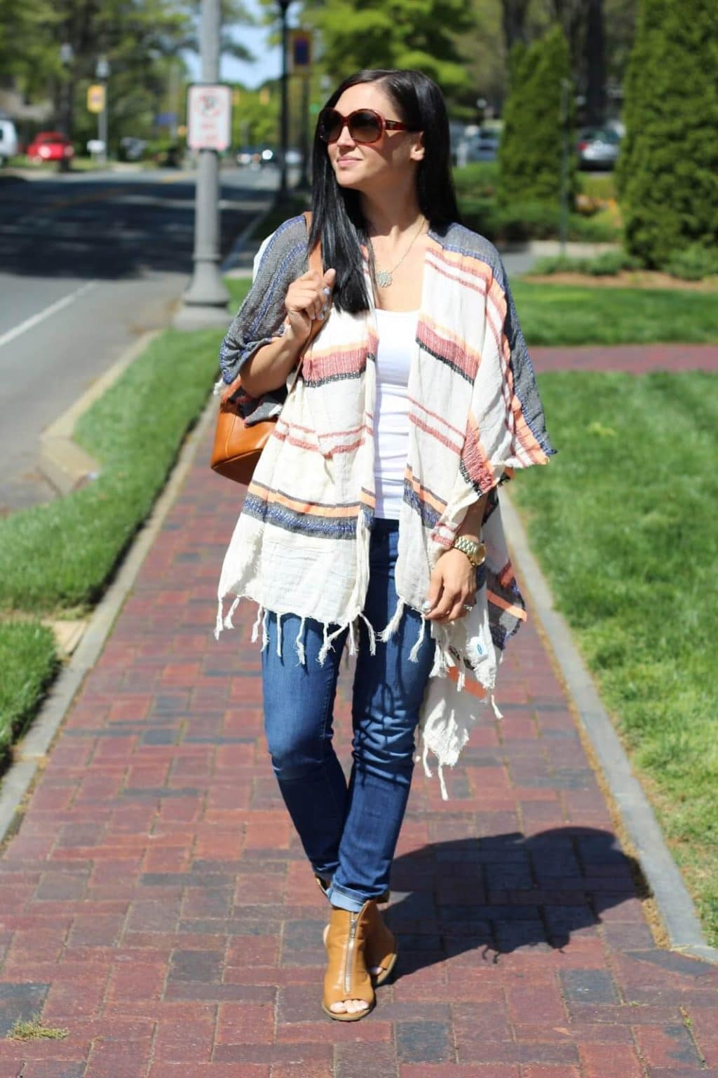 Zip top sandals, striped poncho