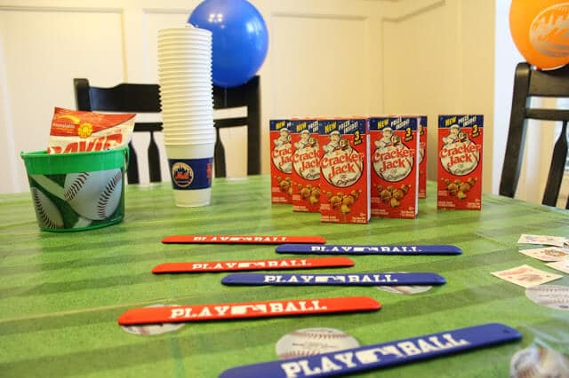 Baseball party, cracker jacks, baseball slap bracelets