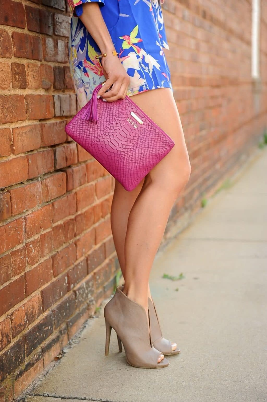 Floral Romper, GiGi New York Clutch, Taupe Booties