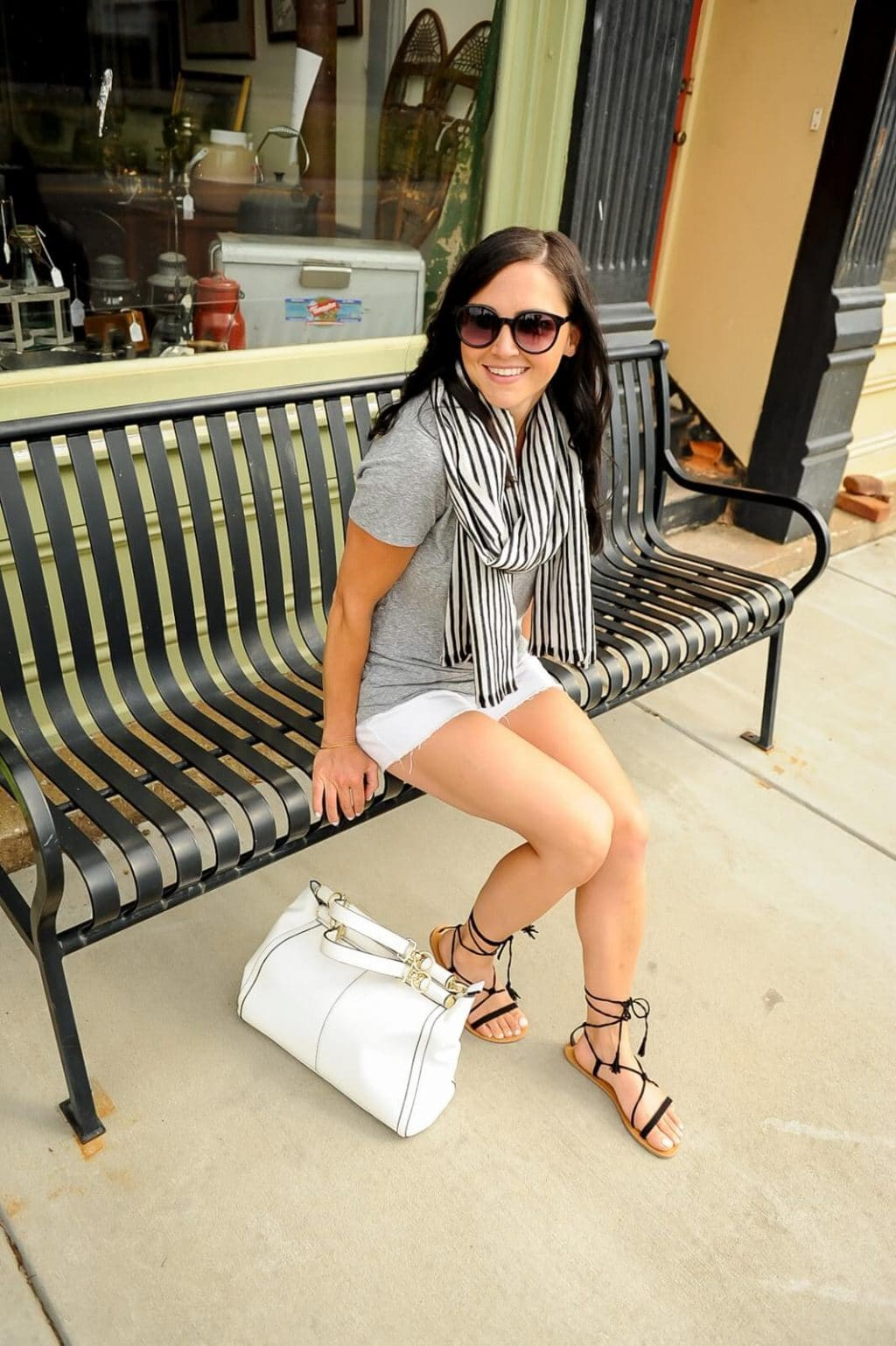 Mom casual: White shorts, grey tee, striped scarf, lace up tassel sandals