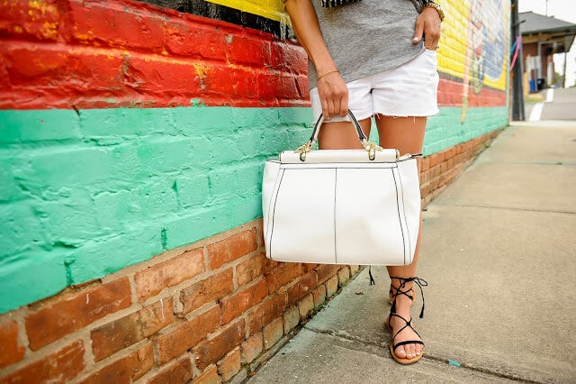 White tote, grey and white, lace up sandals