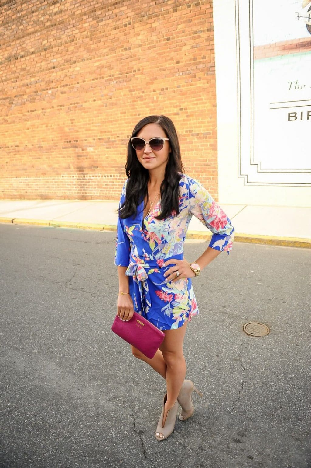 Floral Romper, Downtown Mooresville, NC, Amanda Overmyer Photography