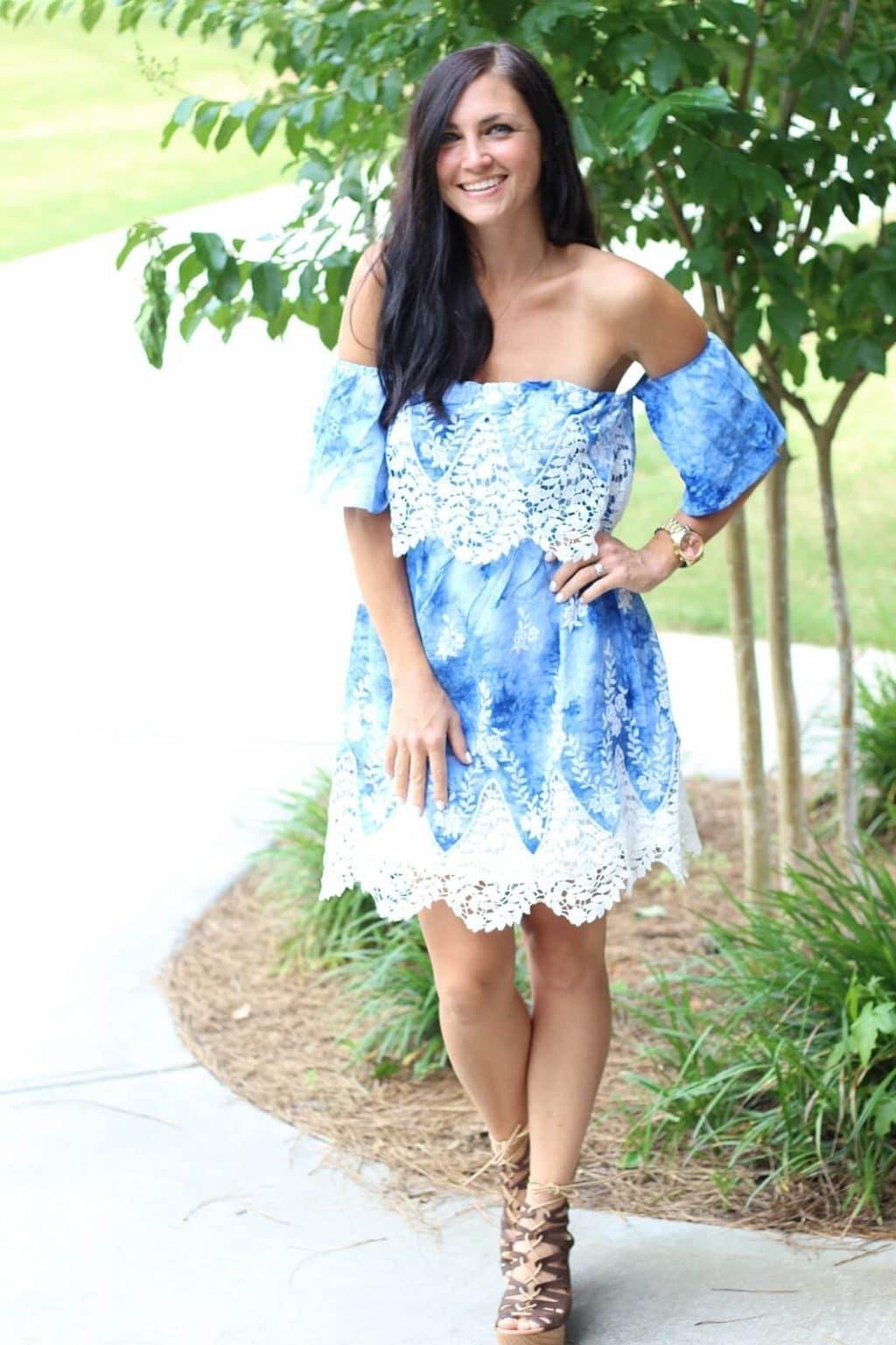 Blue Crochet off shoulder dress