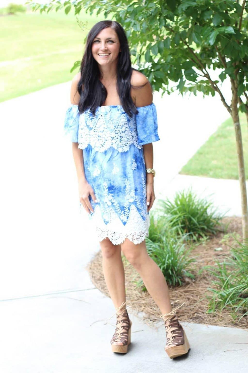 Blue Crochet off shoulder dress, lace up wedges