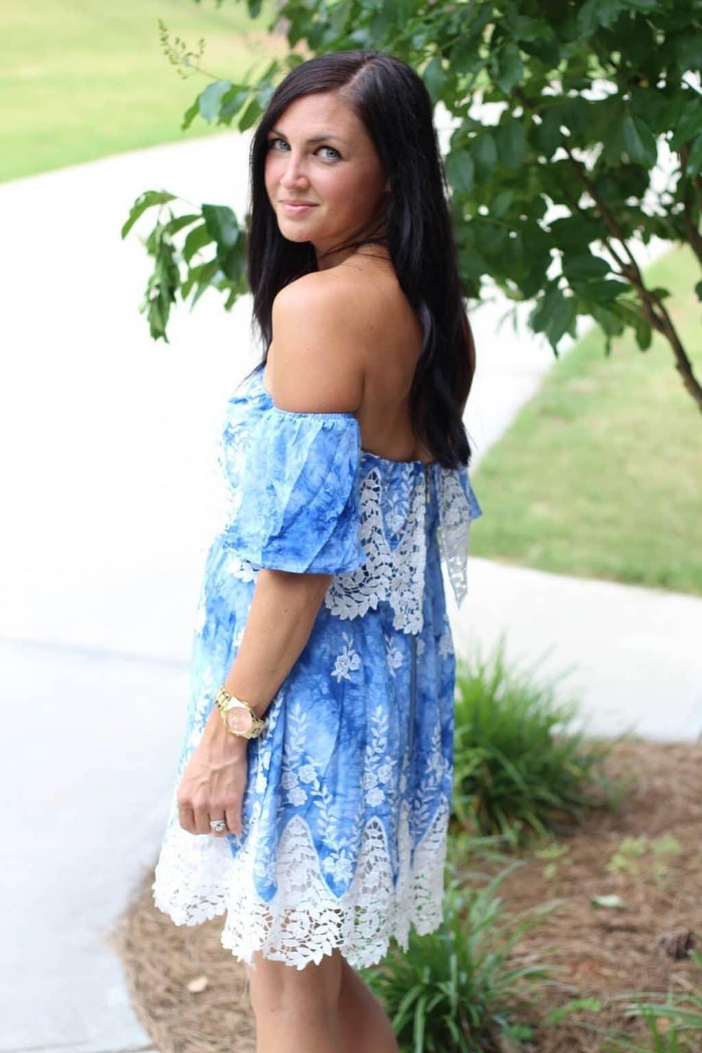 Blue Crochet off shoulder dress, Amazon Prime clothing