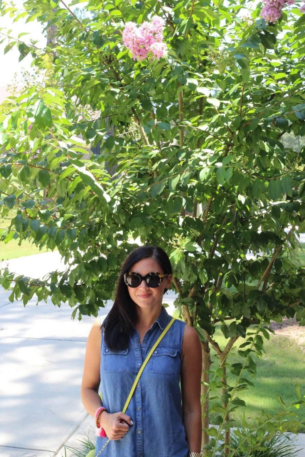 J Jill Style, denim dress, neon, tassels, karen walker flowerpatch