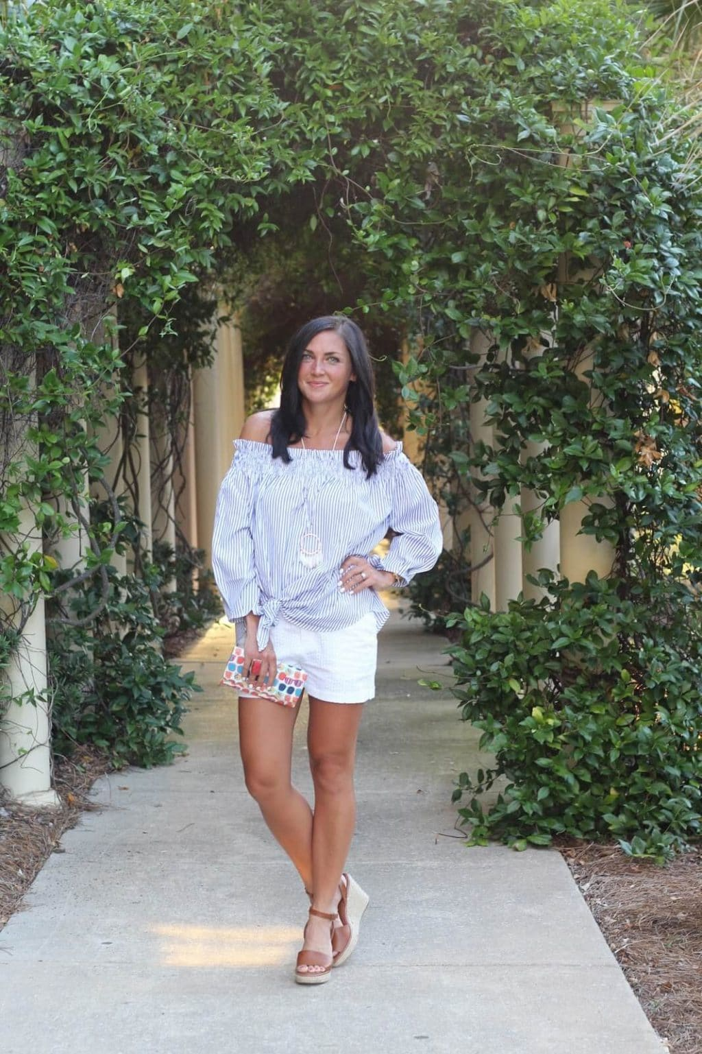 Striped off the shoulder top, white eyelet shorts