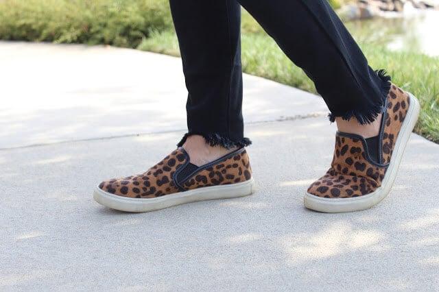 Leopard slip ons, frayed hem jeans