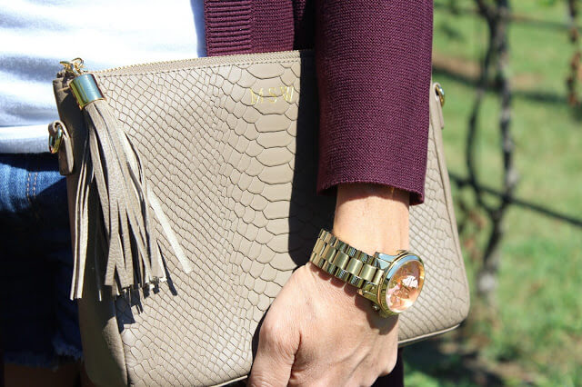J Jill cardigan, tassel booties, fall layering, gigi new york clutch