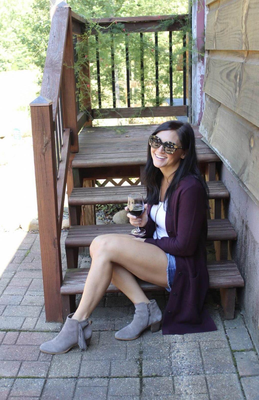 Daveste Vineyards, J Jill cardigan, tassel booties, fall layering, gigi new york clutch