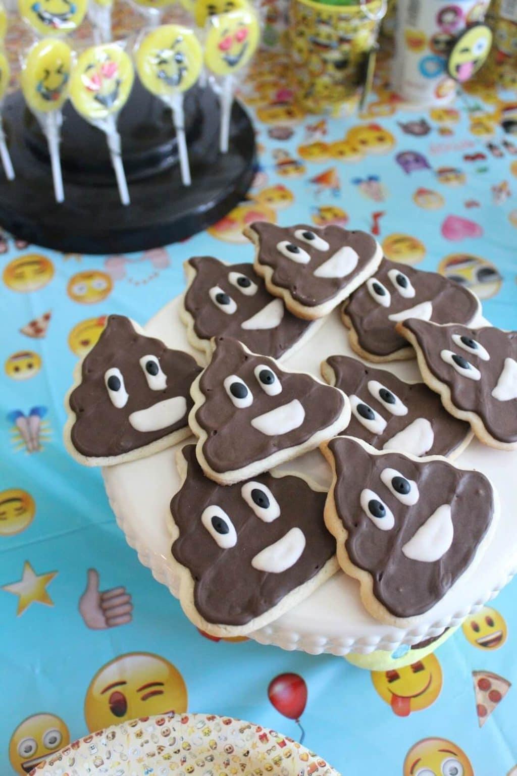 Poop Emoji cookies with royal icing