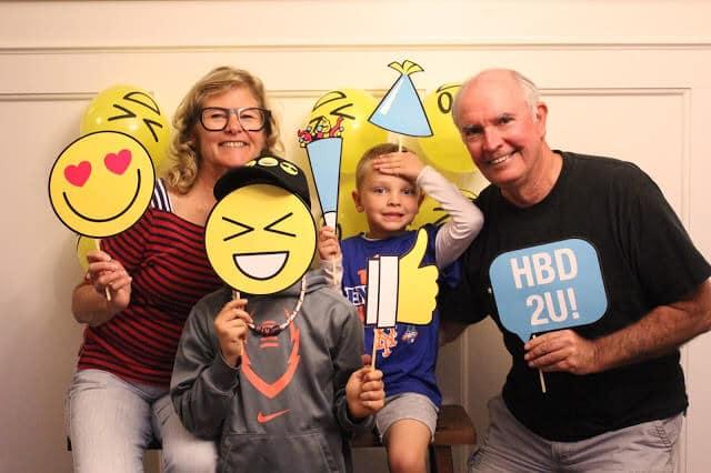 Emoji party birthday cake, 5 year old birthday, Stilettos and Diapers