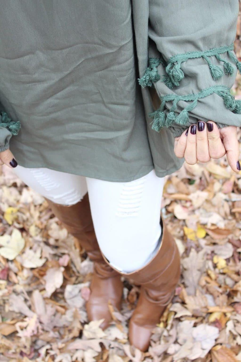 Black Cherry Nails, Tassel trim blouse, white distressed denim in fall