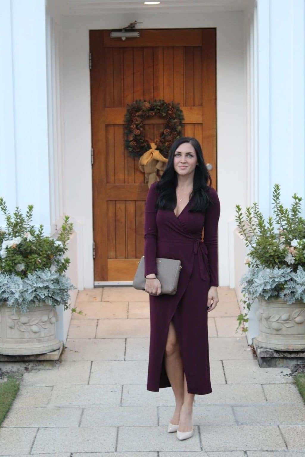 Nude Heels, Burgundy Dress, Christmas Party Outfit, Date Night, GiGi New York