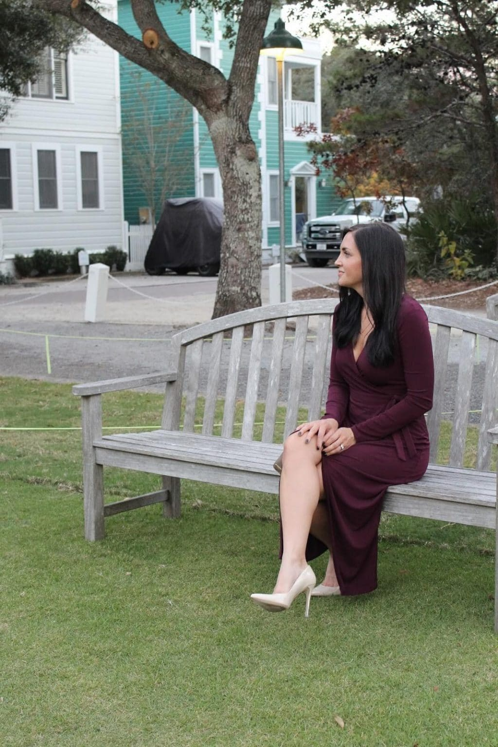 Nude Heels, Burgundy Dress, Christmas Party Outfit, Seaside Square