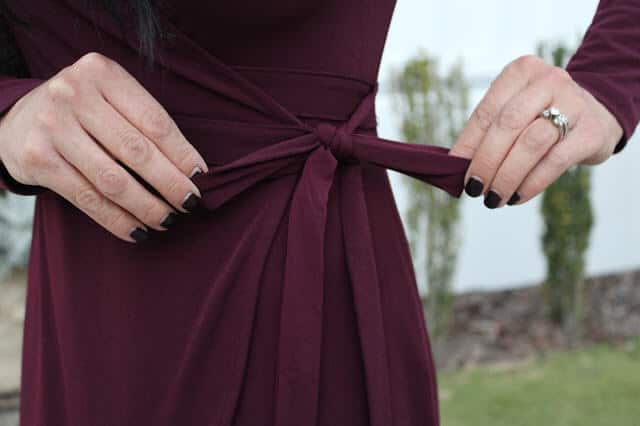 Burgundy Wrap Dress, Christmas Party Outfit, Date Night