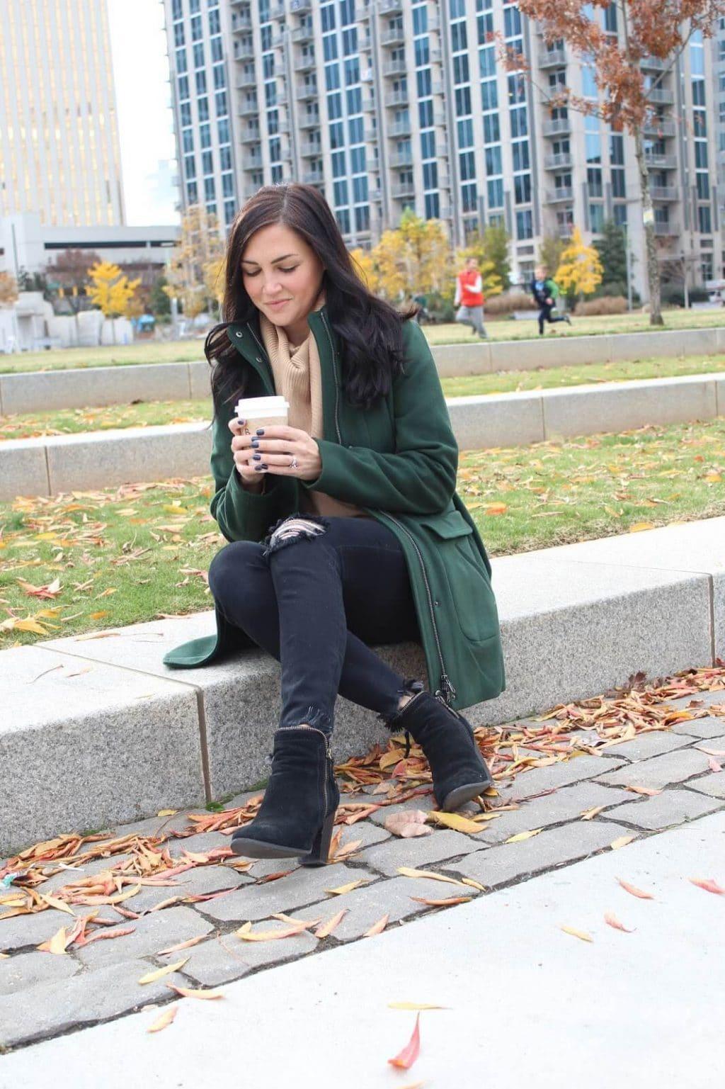 J Jill Hunter green coat | Cowl Neck Nordstrom Sweater | Distressed Black Denim
