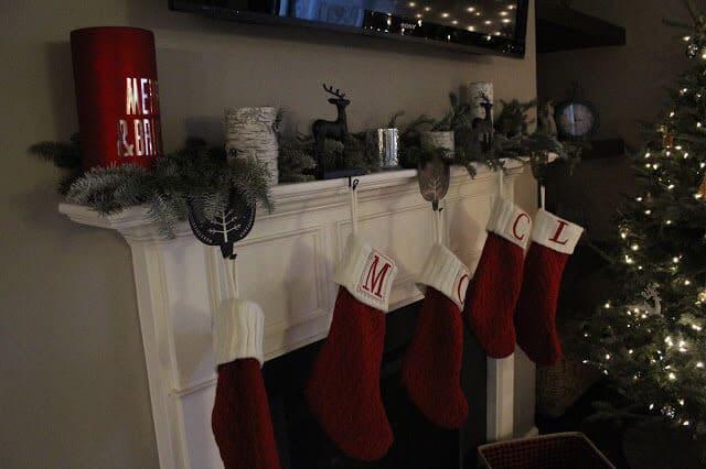 Monogram stockings, rustic christmas decor