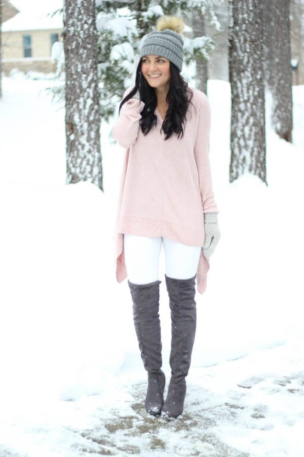 How to wear white in the winter with pastels and otk boots