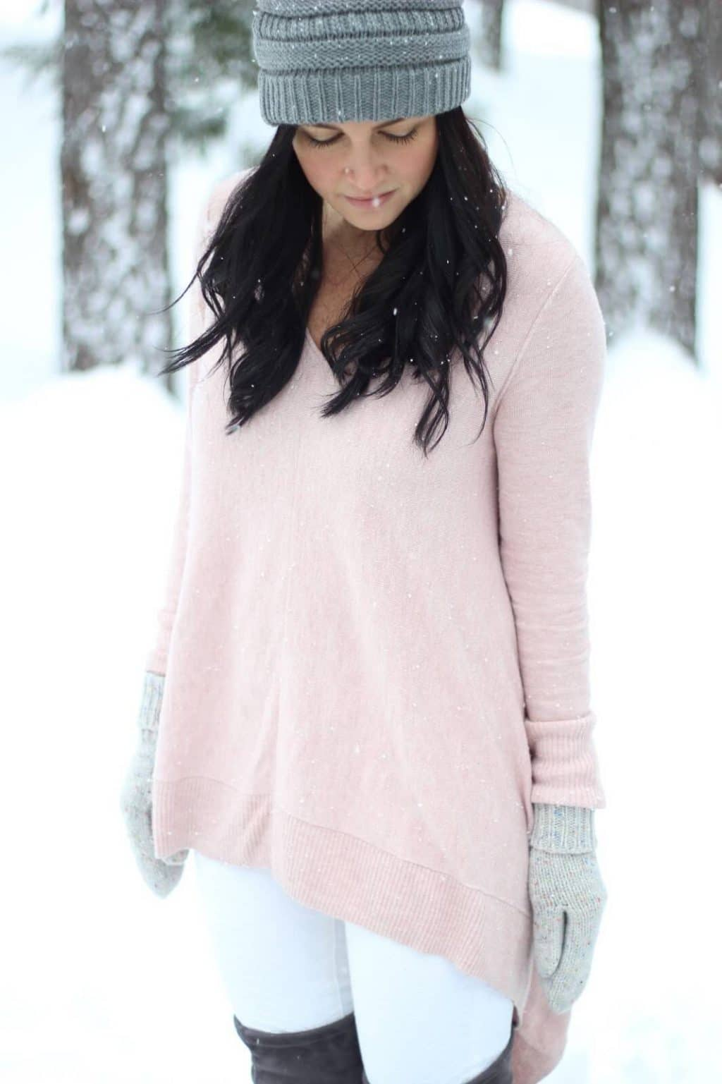 Pink and white pastels in the winter