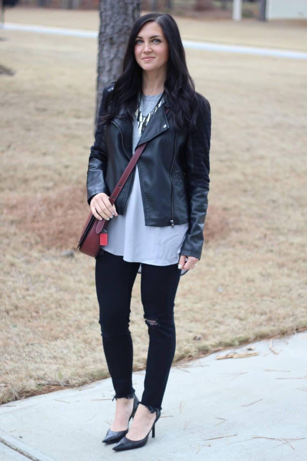 Leather Jacket, Distressed Denim, Coach Saddle Bag, Stilettos
