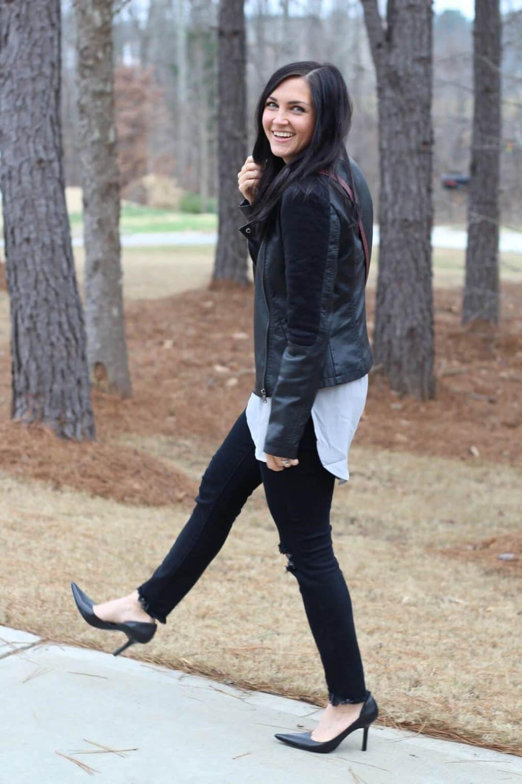 Leather Jacket and Distressed Denim worn with Stilettos
