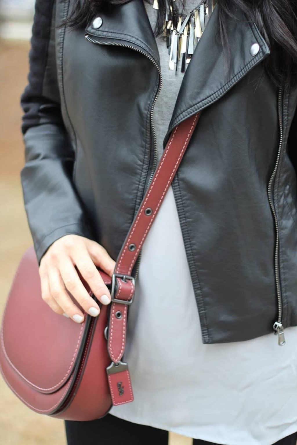 Leather Jacket, Distressed Denim, Coach Saddle Bag