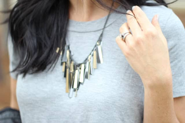 Molly Suzanne Bar Fringe Necklace, Mixed Metal