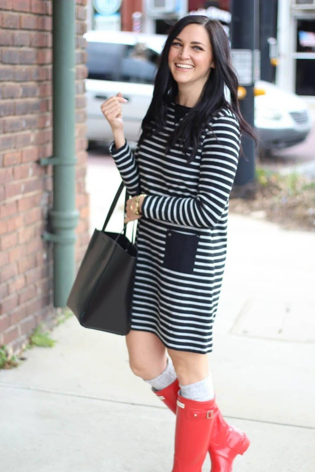 How to wear a short dress with Hunter Boots