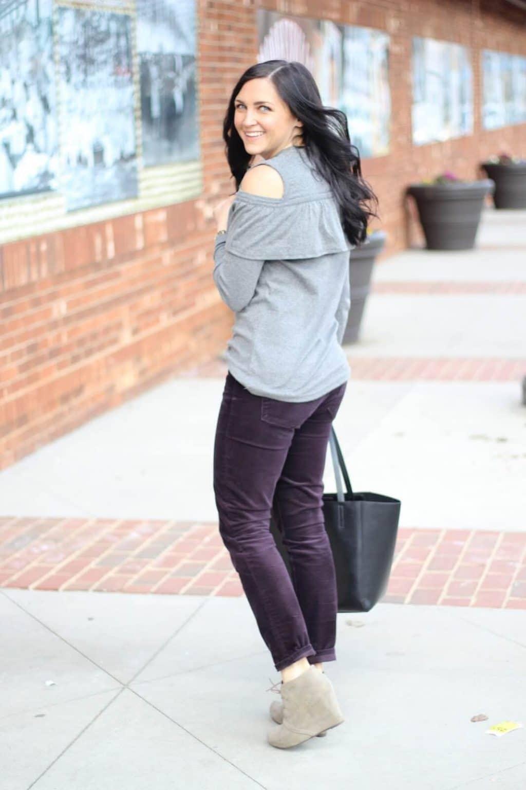 Cold Shoulder Sweatshirt with corduroy pants, wedge booties