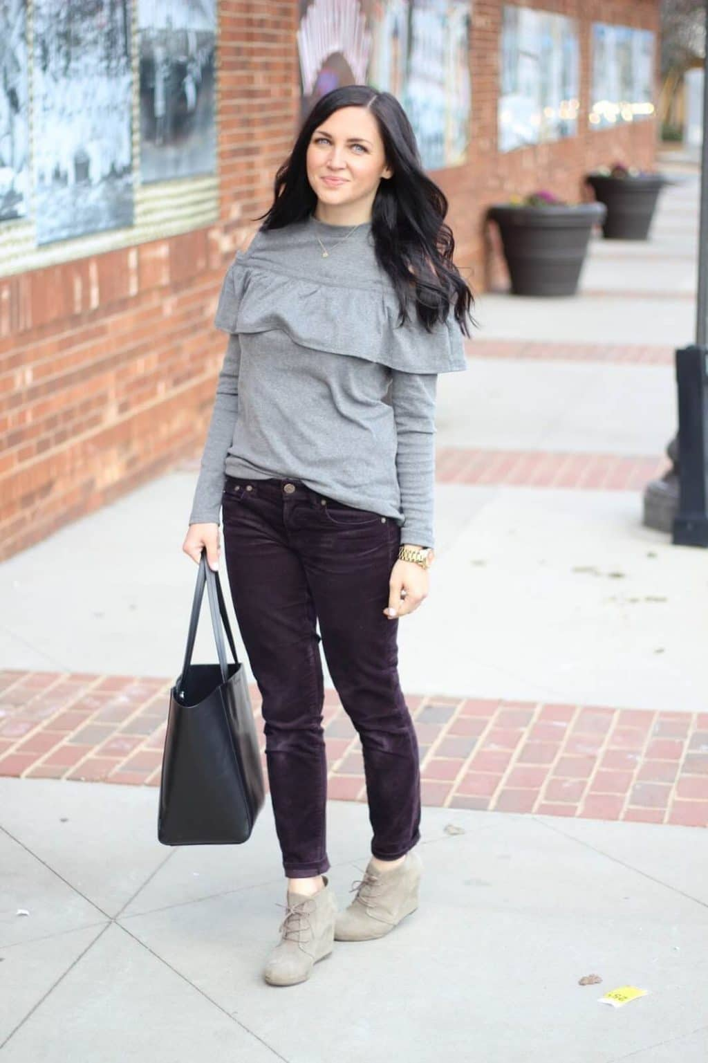 Cold Shoulder Sweatshirt with corduroy pants