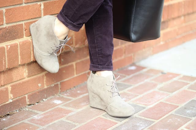 Comfortable spring transition wedge booties