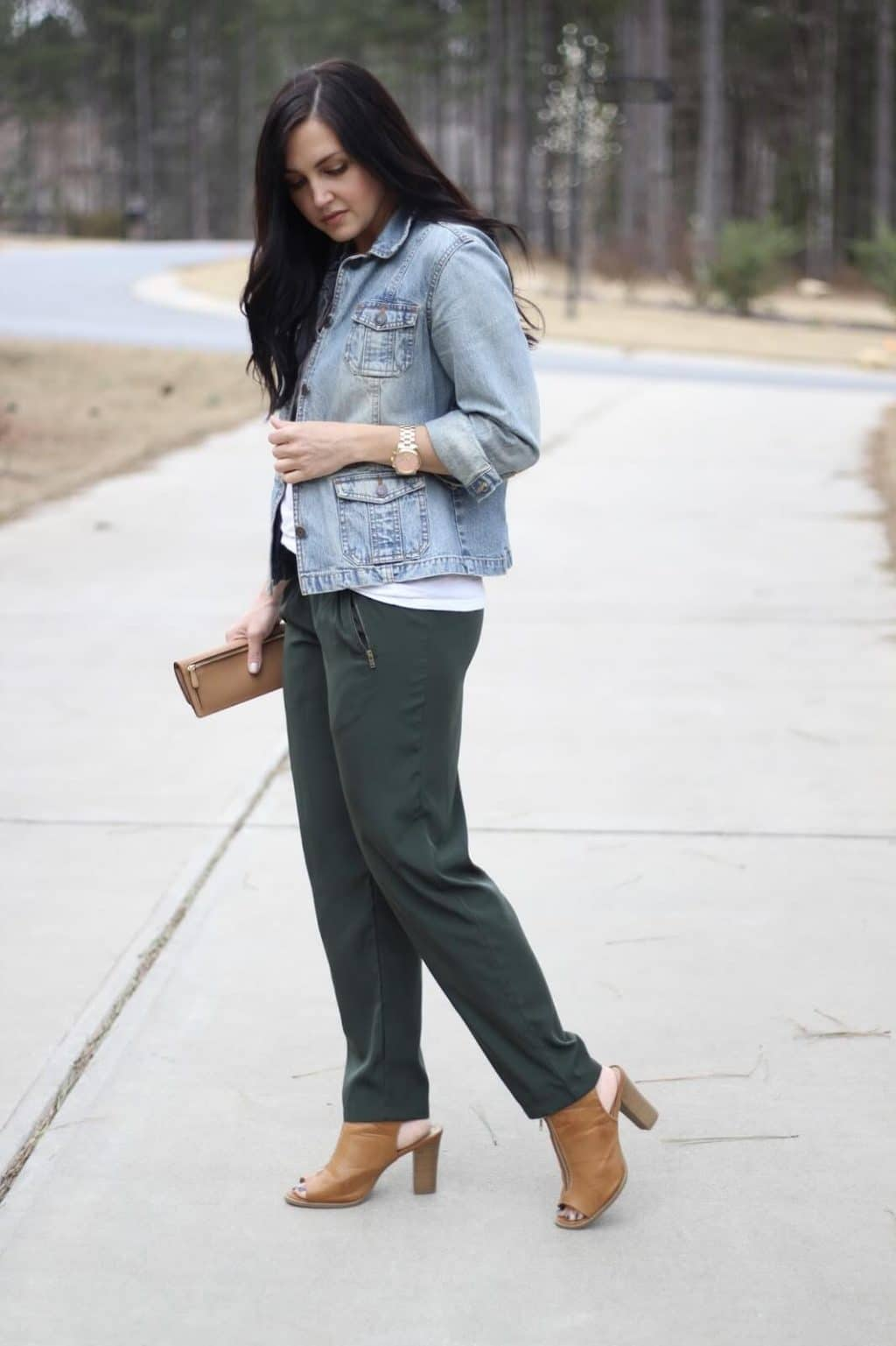 How to dress up drawstring pants with a denim jacket via Stilettos and Diapers