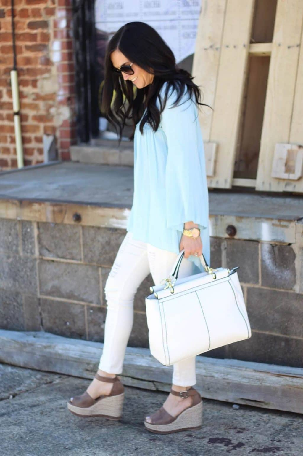 Light blue embroidery blouse, white jeans, Stilettos and Diapers, Espadrille Wedge Dupe