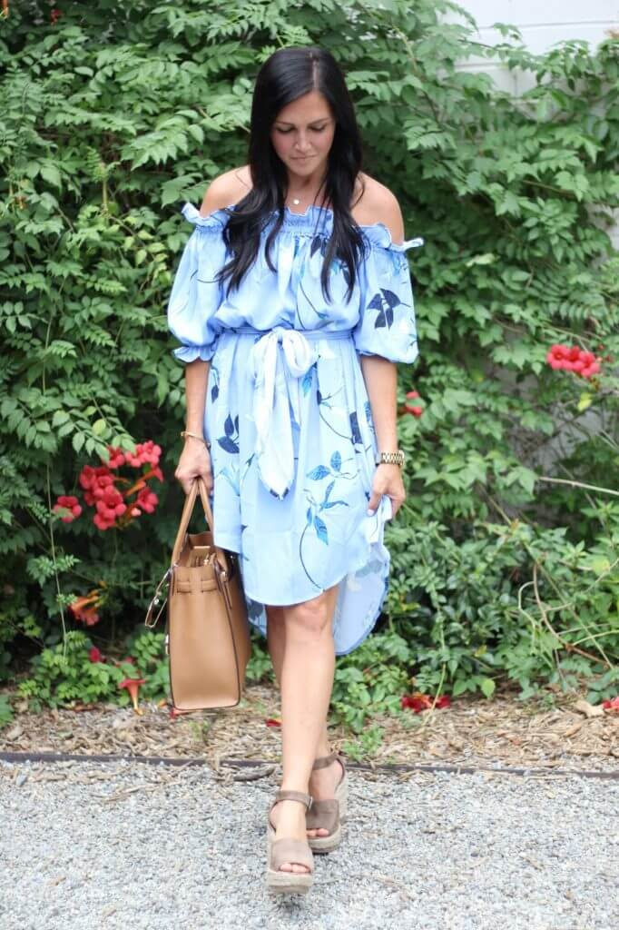Stilettos and Diapers, off the shoulder floral dress