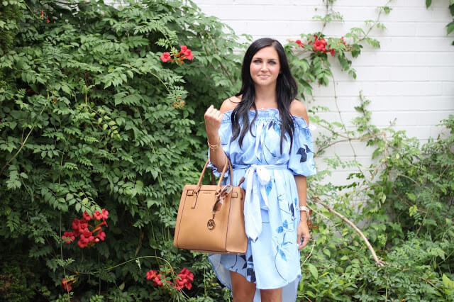 Stilettos and Diapers, off the shoulder floral dress, girly summer style