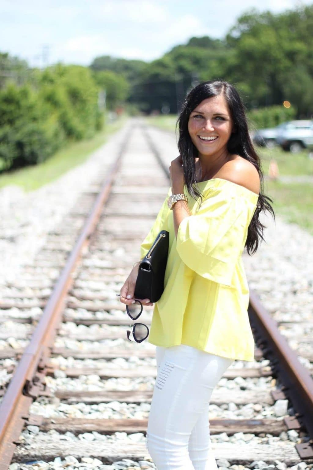 Yellow off the shoulder, white distressed jeans, summer style, stilettos and diapers, budget friendly