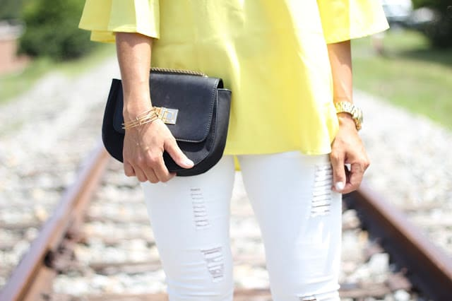 Yellow off the shoulder, white distressed jeans, summer style, stilettos and diapers