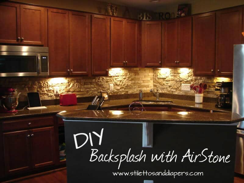 faux stone kitchen backsplash diy backsplash with airstone stilettos amp diapers 7185