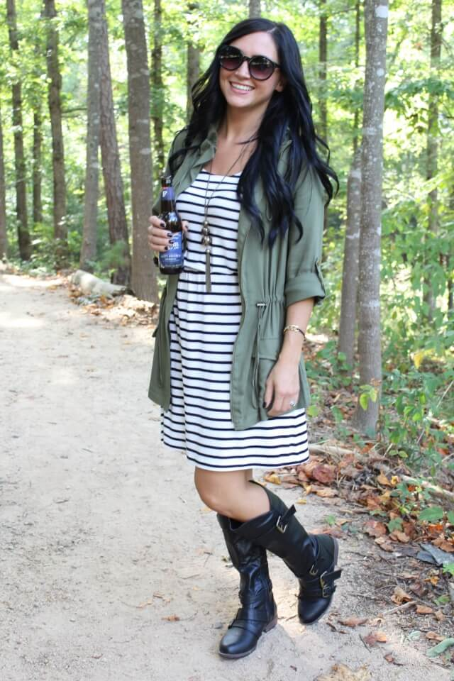 Stilettos and Diapers: Striped dress, military jacket, boots