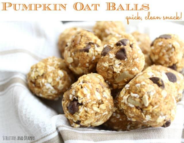 Pumpkin Oat Balls, Pumpkin recipe, easy snacks, Stilettos and Diapers