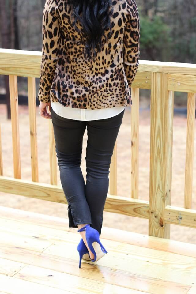 Stilettos and Diapers: Leopard blazer and blue pumps