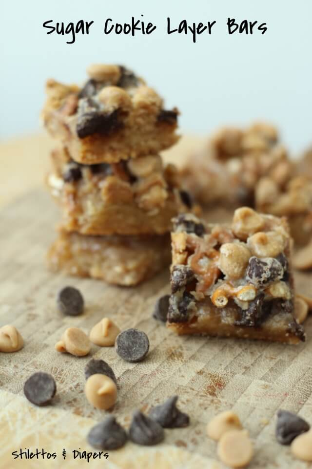 Easy Sugar Cookie Layer Bars via Stilettos & Diapers