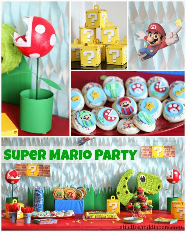 Super Mario Birthday Party Stilettos Diapers
