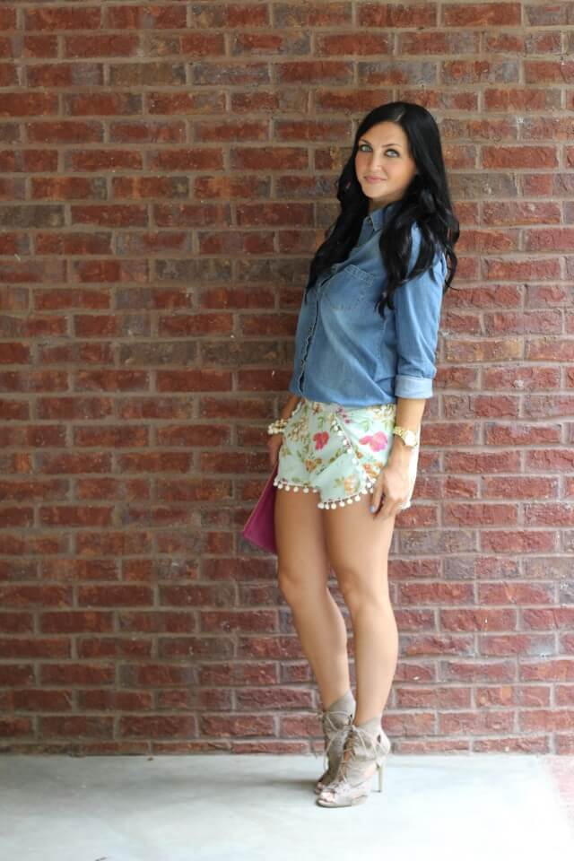 Stilettos and Diapers: Pom Shorts, JustFab Heels
